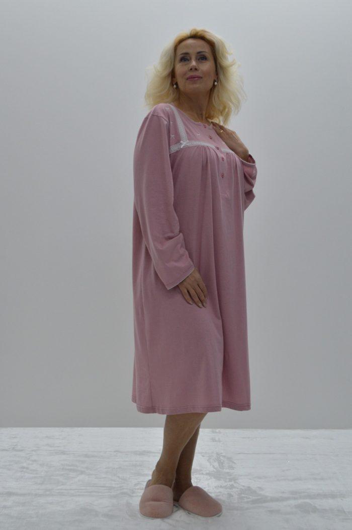 Camisa de dormir com rendas e laços, Rosa