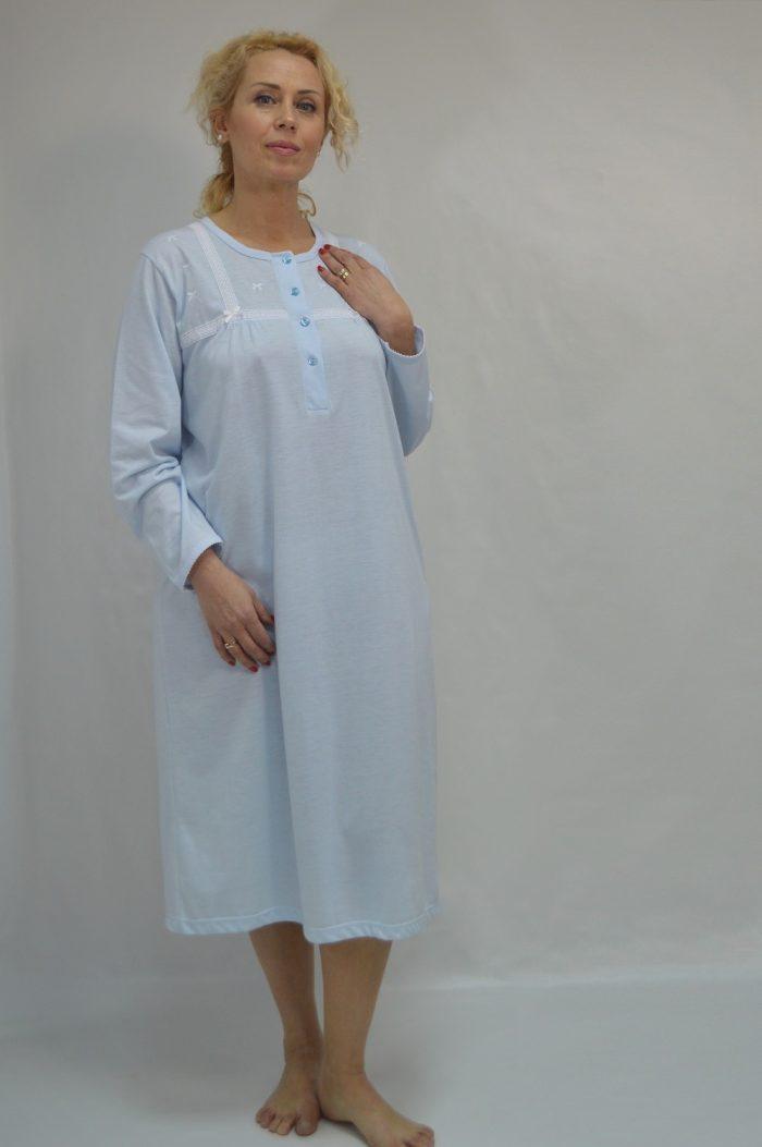 Camisa com carcela e rendas, azul