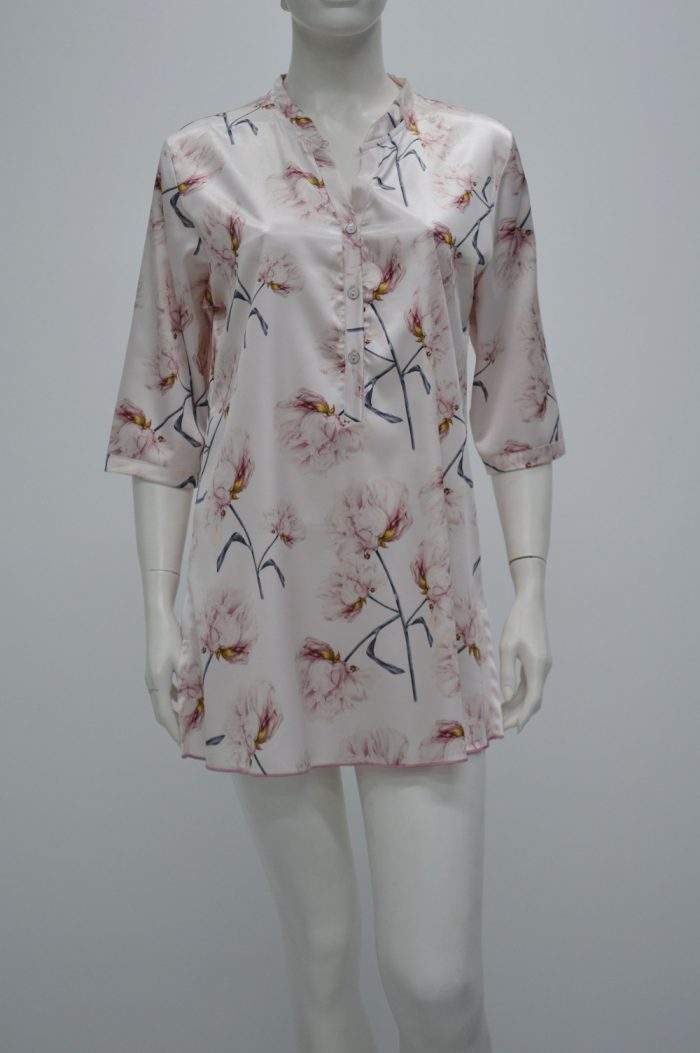 Sustainable nightdress floral pink