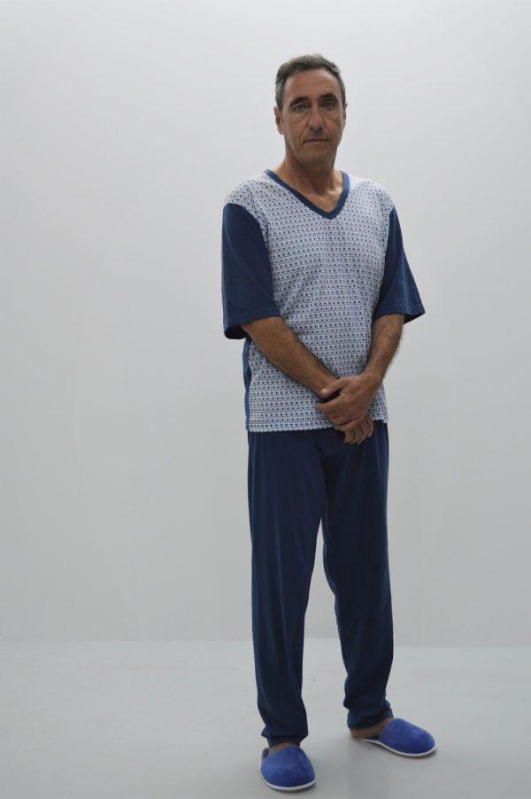 Pijama de manga curt, azul