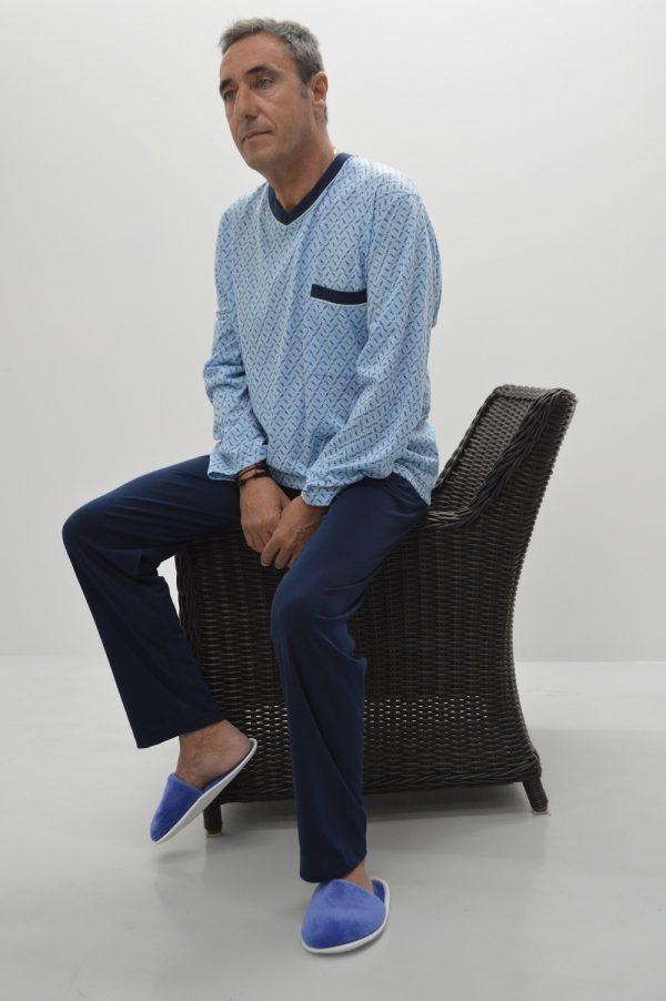 Pijama camisola decote em V, azul
