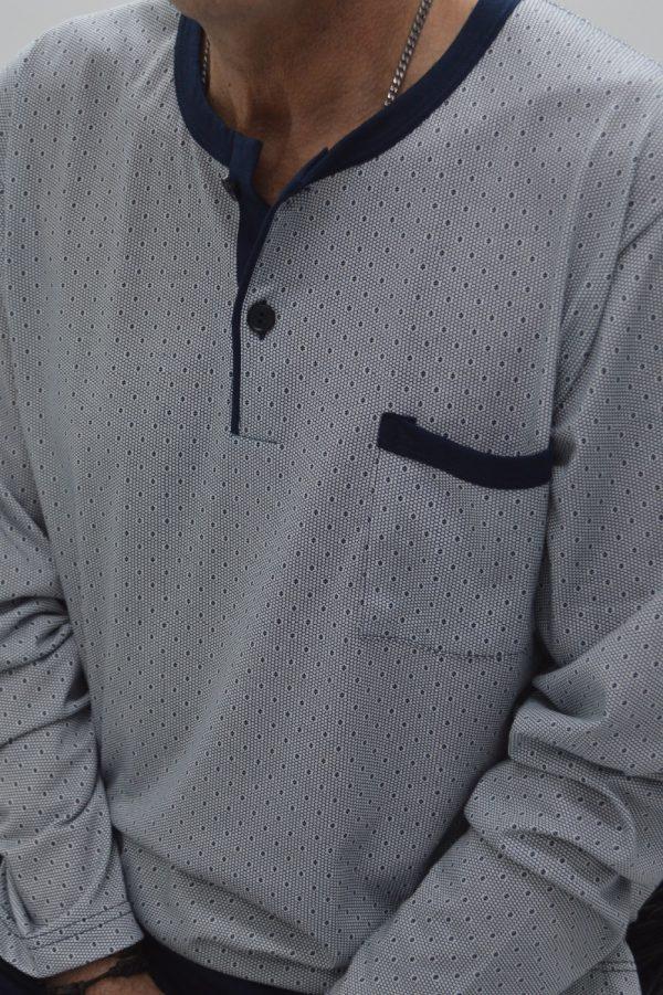 Pijama manga comprida e carcela, Marinho