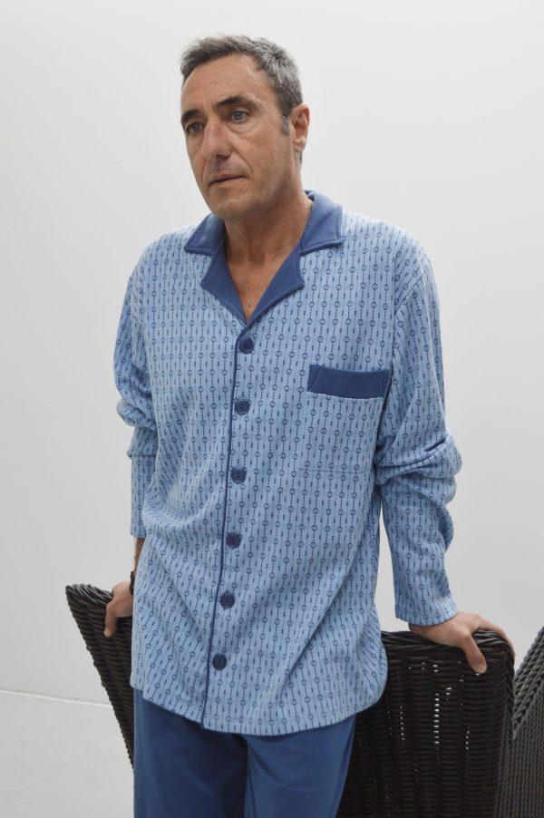 Pijama camiseiro mangas compridas, azul