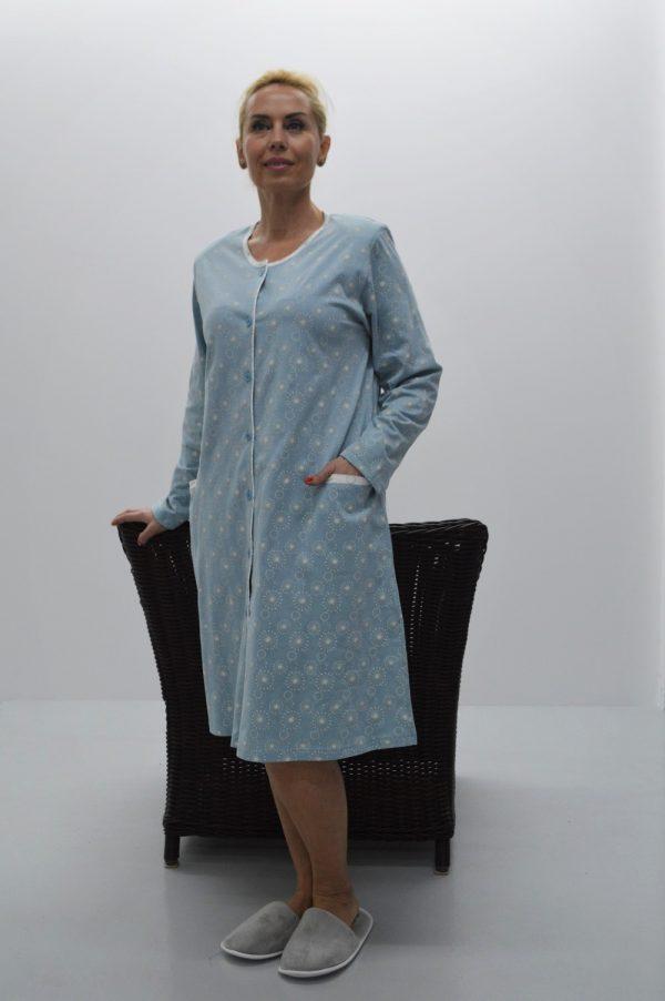 Robe estampado com bolsos azul
