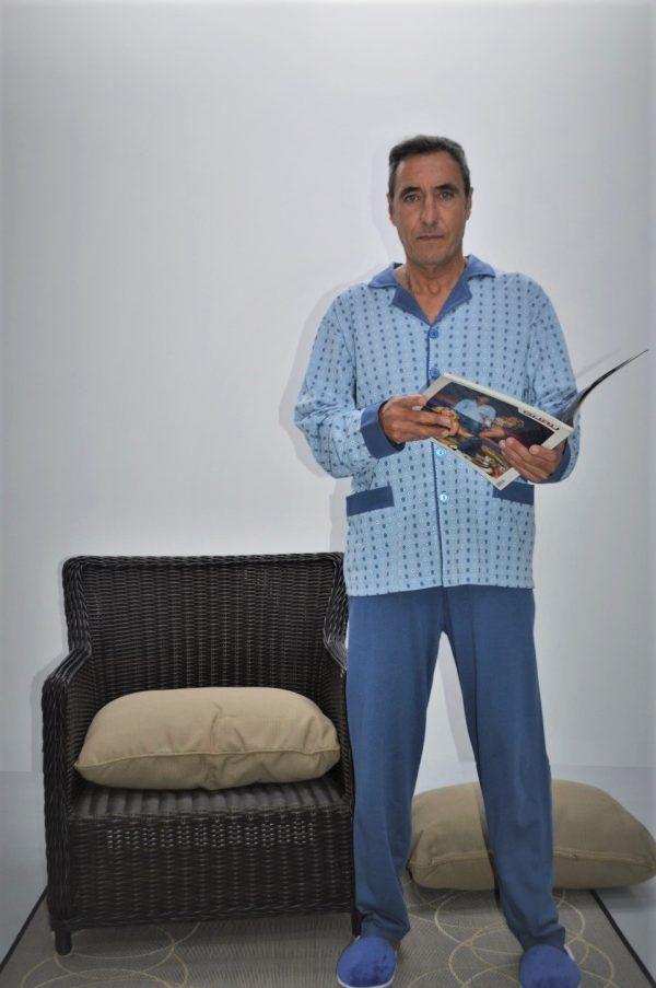 Pijama camiseiro de homem, Azul