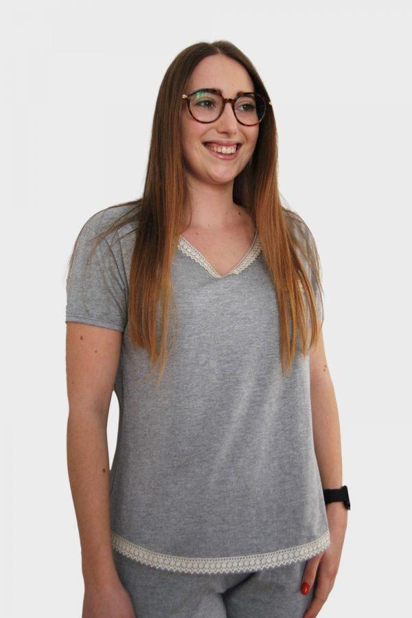 Conjunto T-shirt e calças em Jersey e detalhes em renda de algodão orgânico, Cinza