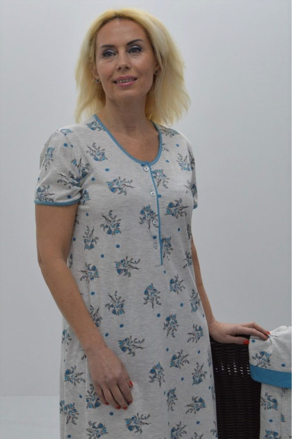 Camisa estampada de manga curta cinza