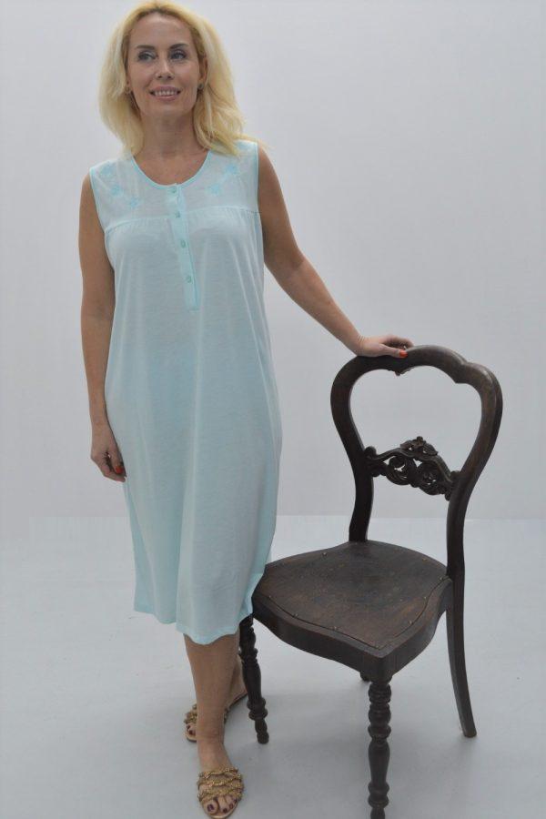 Camisa sem manga com escapulário e bordado, azul