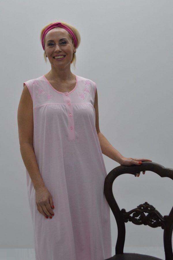 Camisa sem manga com escapulário e bordado, Rosa