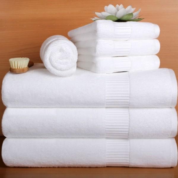 Toalhas de banho em felpo com barra jacquard