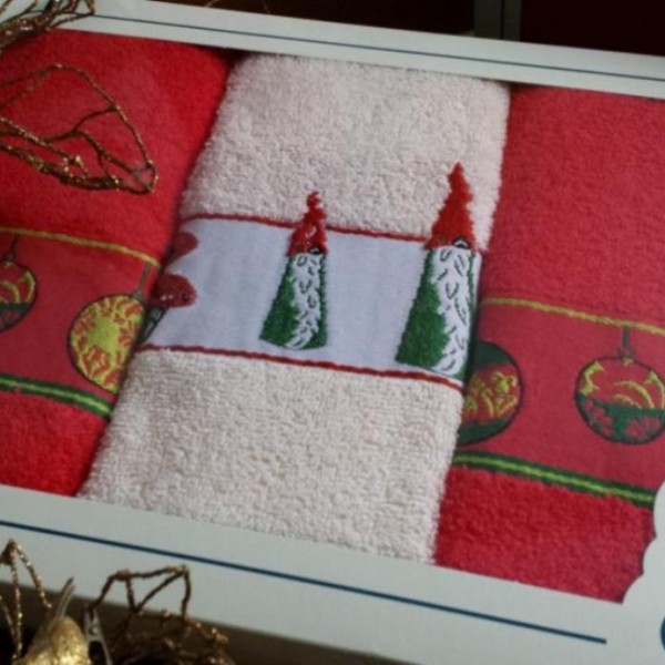 Pano de cozinha em felpo com barra jacquard de Natal em caixa