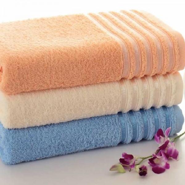 Toalhas de banho com barra jacquard em felpo 100% algodão